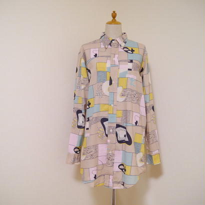 80's pattern L/S shirt