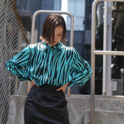 zebra pattern silk shirt