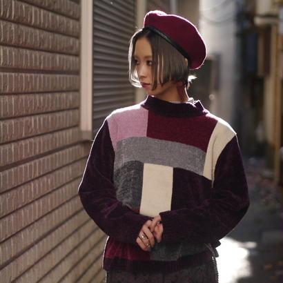 Pile fabric mockneck sweater