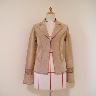 Lace × leather design jacket