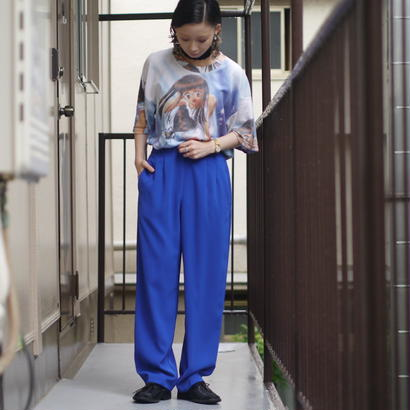 color wide tuck  pants