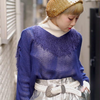 Fringe dolman sleeve knit