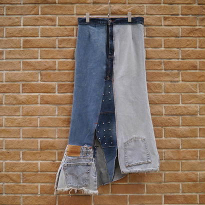 Remake patching denim skirt