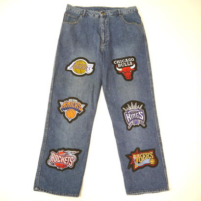 NBA patch baggy denim pants