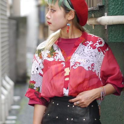 Japanese pattern see-through blouse