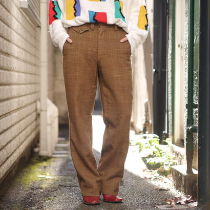 60s wool check pants