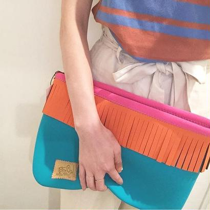 Lozz Sandra/Fringe clutch bag-Turquoise×Neon orange fringe