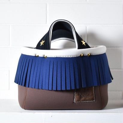 Lozz Sandra/fringe mini tote bag/navy fringe