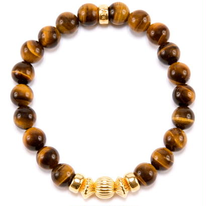 YELLOW TIGER EYE & GOLD BALL BRACELET -8mm-
