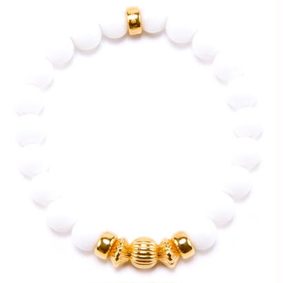 WHITE ONYX & GOLD BALL BRACELET -8mm-