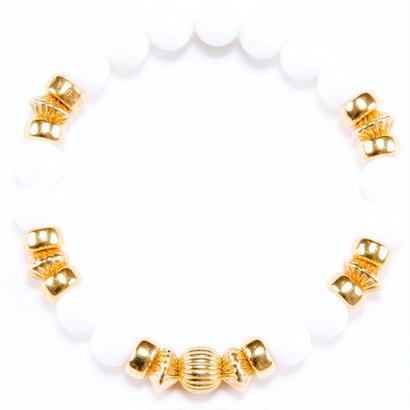 White Onyx & Gold Charm Bracelet