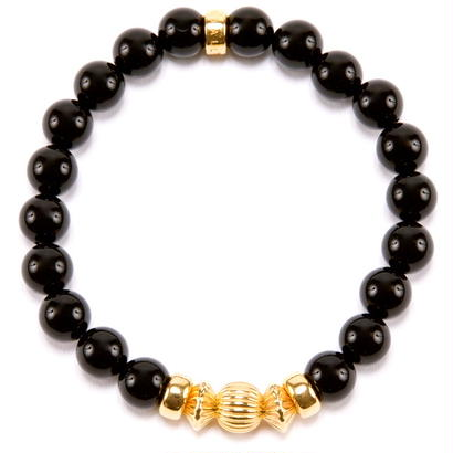 BLACK ONYX & GOLD BALL BRACELET -8mm-