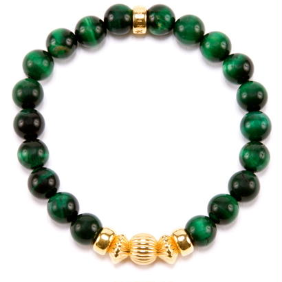 GREEN TIGER EYE & GOLD BALL BRACELET -8mm-
