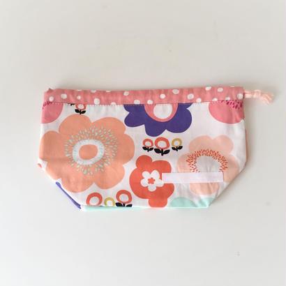 巾着 (コップ袋・お弁当袋)  お花オレンジ