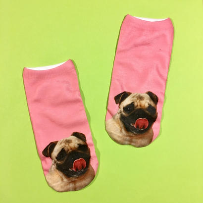 パグ 靴下 女性用 ピンク