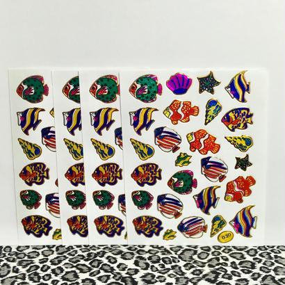 魚 キラキラ シール 4枚セット sticker fish