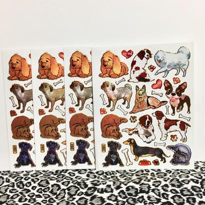 犬 キラキラ シール 4枚セット sticker dog