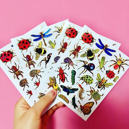 [再入荷] 虫 ムシ キラキラ シール 4枚セット sticker bug insect