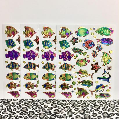 魚 ネオン キラキラ シール 4枚セット sticker fish neon
