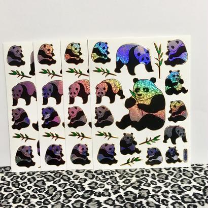 パンダ キラキラ シール 4枚セット sticker panda