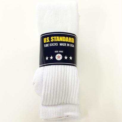 US STANDARD / 3PACKS TUBE SOCKS WHITE MADE IN USA チューブソックス 靴下