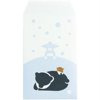 ぽち袋 雪見灯篭と熊