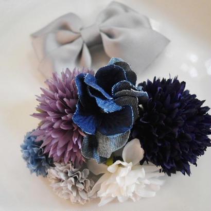 フラワーヘアドレス(髪飾り)リボン付
