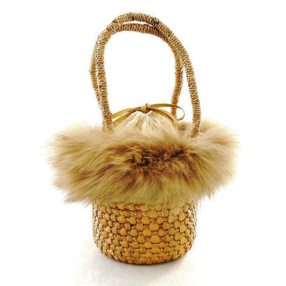 MINI BASKET BAG with FOX FUR – Beige