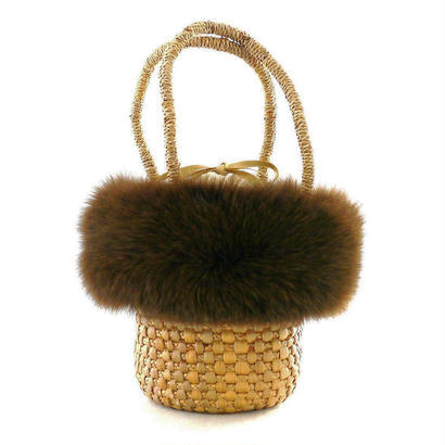 MINI BASKET BAG with FOX FUR – Brown