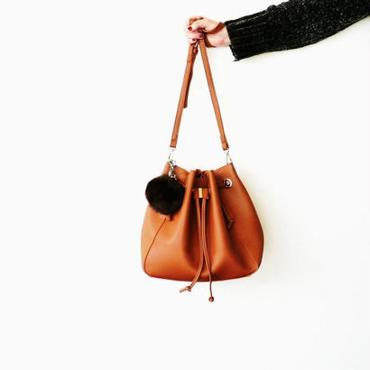 DRAWSTRING BAG with REAL RABBIT FUR CHARM-Brown
