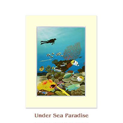 ヒロクメアート 2Lマットスタンド 海底の美しい魚たちの世界が描かれたハワイアンアート『Under Sea Paradise』。HK008D