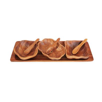 アカシアウッドプレートセット。3種の小鉢とスプーン、トレイの3名用セット。Wooden Rectangular Tray 3 Assorted And Spoon Sets。20025