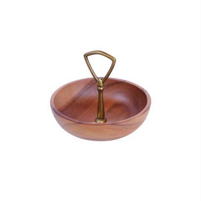 アカシアウッドプレート。ヴィンテージ風の真鍮ハンドル付。Round Bowl with Brass Handle。DE022