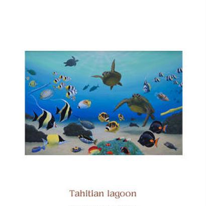 ヒロクメアート 2Lマットスタンド 海底の美しい魚たちの世界が描かれたハワイアンアート『Tahitian Lagoon』。HK008C