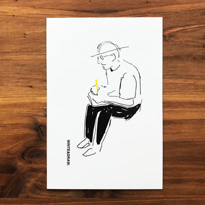 "WRITE&DRAW.  ORIGINAL GREETING CARD ""WRITING MAN"""