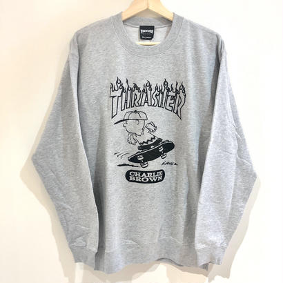 THRASHER×PEANUTS CHARIE BROWN CREW NECK GREY/L