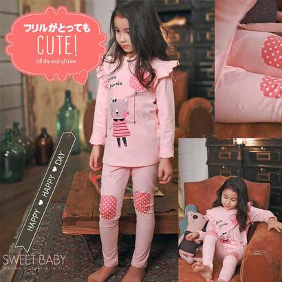 ▷◁可愛いピンクフリルキャットパジャマ★ドット ルームウェア上下セット