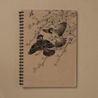 手作りリングノート(A5) すずめ