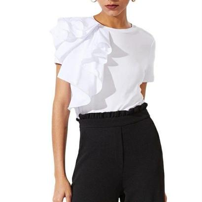 片フリルTシャツ