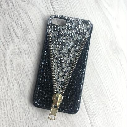 iphone7スマホケース ラインストーンジッパー