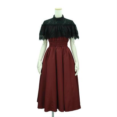 オフショルダーレースケープドレス