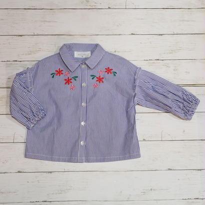 WILL MERY / ウィルメリー フラワー刺繍入りギャザー袖ストライプシャツ 90cm