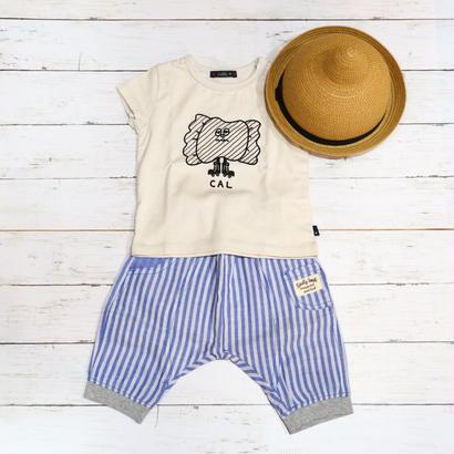 【SALE】Kids zoo(キッズズー)ストライプサルエル6分丈パンツ 70cm