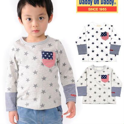 Daddy Oh Daddy / ダディオーダディ 日本製 星柄プリントボーダー切り替えTシャツ