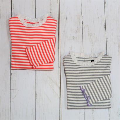 Caldia / カルディア  フライス衿フリルボーダーTシャツ