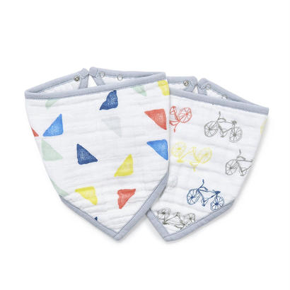 Aden + Anais  / エイデンアンドアネイ【日本正規品】モスリンコットン バンダナビブ 2枚セット  triangles+cycles