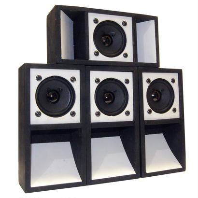 "4set ""MINI SOUND SYSTEM""  2TONE [BLACK & WHITE]"