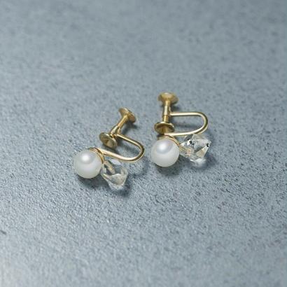 shuo13017 Pearl × Crystal Earring