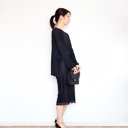 ◆Mサイズ即納◆Leonis[レオニス] ボクシー・セーター7(ラメ) / ブラック