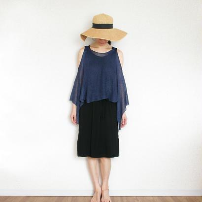 ◆即納◆Scutum[スクトゥム] ベアショルダー・ポンチョ短丈 / ナイト・ブルー